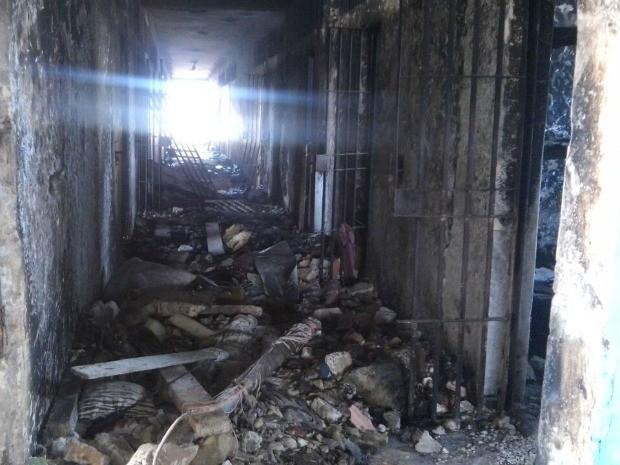 Pavilhão B da Penitenciária  Estadual Ênio dos Santos Pinheiro foi incendiado durante confronto e ficará interditado para reforma (Foto: Copen/Divulgação)