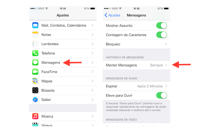 Acessando as opções do histórico de mensagens do iOS 8 (Foto: Reprodução/Marvin Costa)