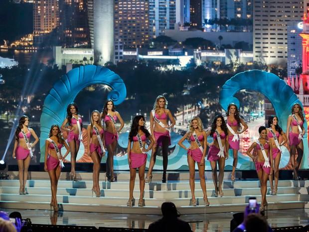 Candidatas ao Miss Universo 2014 posam em trajes de banho (Foto: AP Photo/Wilfredo Lee)