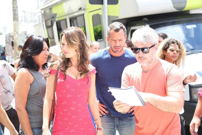 Mariana Ximenes e Malvino Salvador passam o texto para cenas de Tancinha e Apolo (Foto: Carol Caminha)