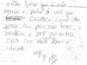 Trecho da carta que teria sido escrito pela mãe de bebê abandonado, em Niquelândia, Goiás (Foto: Reprodução/ TV Anhanguera)