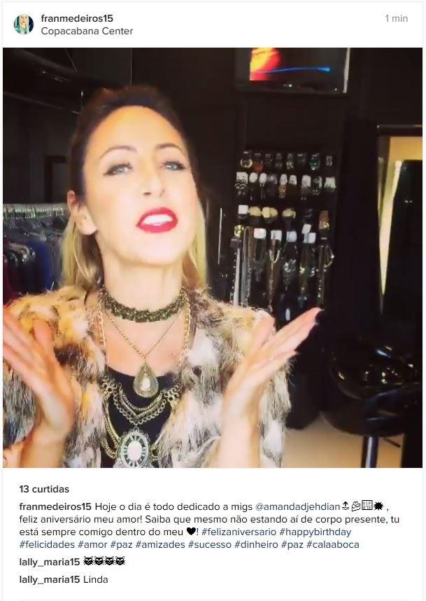 Francieli Medeiros parabeniza Amanda Djehdian (Foto: Instagram / Reprodução)