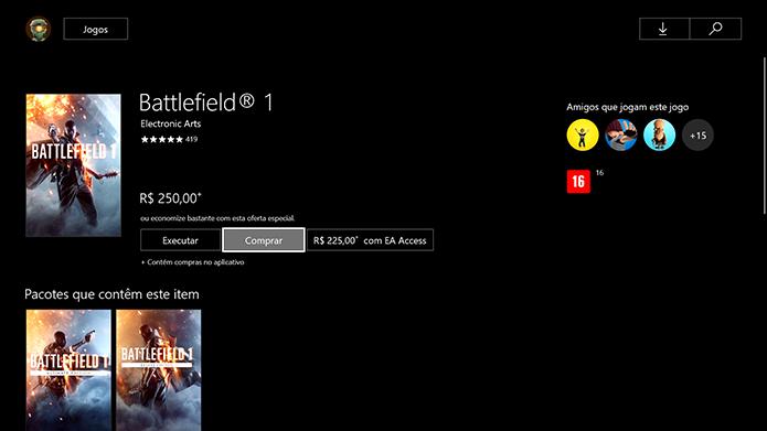 Clique no botão comprar de Battlefield 1 (Foto: Reprodução/Murilo Molina)