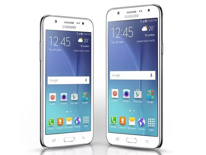 Galaxy J5  e Galaxy J7 são as novas apostas da Samsung entre os smartphones intermediários (Foto: Divulgação/Samsung)
