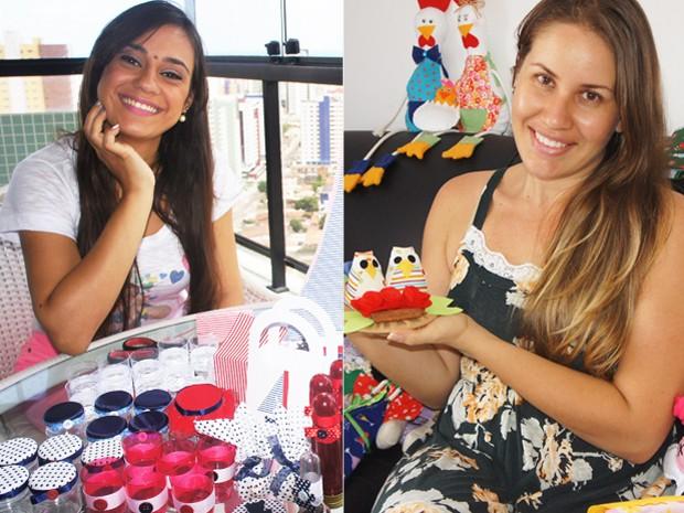 Artesãs Ana Lúcia e Daniella Branco mostram os itens que fizeram na Paraíba (Foto: Arte/G1)