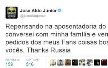 José Aldo diz que está repensando aposentadoria: ''Coisas boas virão''
