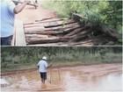 Moradores no interior de RR fazem desvios para evitar ponte quebrada