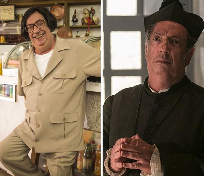 Marcos Oliveira em dois momentos: à esquerda como Beiçola e à direita como o falso padre Vizeu (Foto: Rede Globo e Raphael Dias/Gshow)