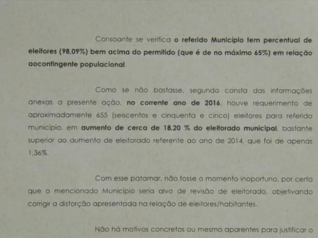 Promotoria investiga o número de eleitores na cidade (Foto: Reprodução / TV TEM)