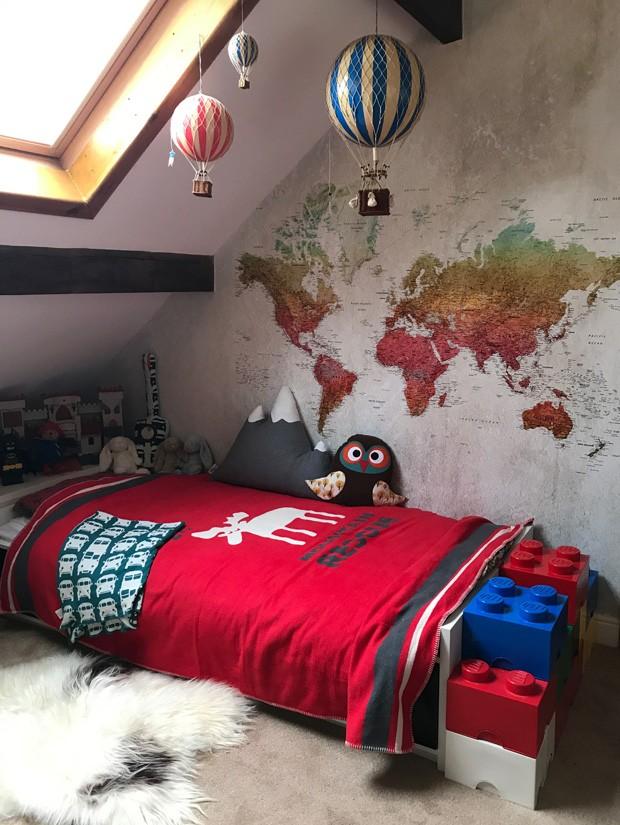 Décor do dia: quarto infantil com mapa na parede (Foto: divulgação)