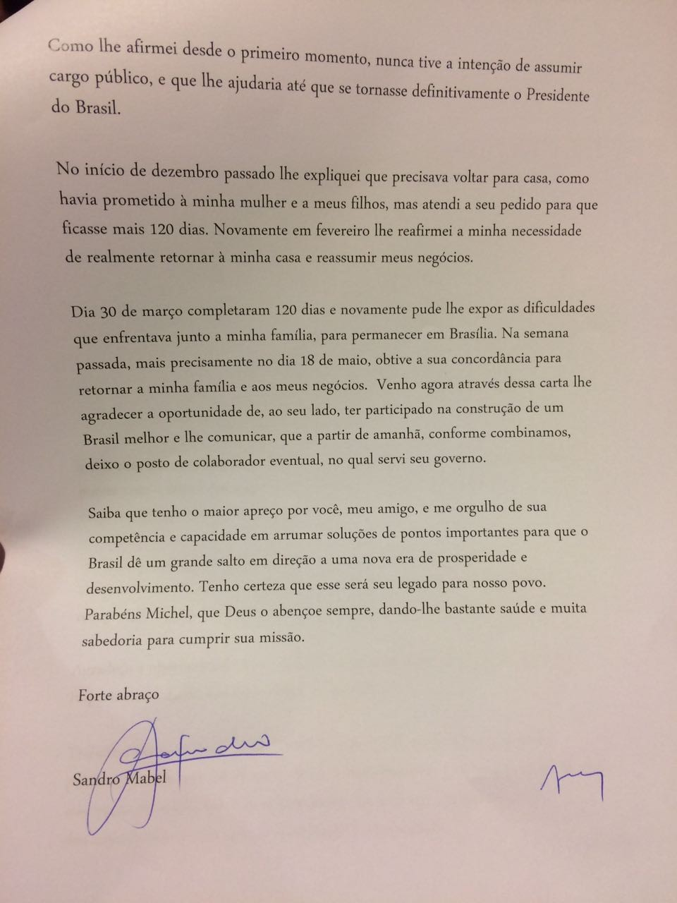 Segunda parte da carta de Sandro Mabel a Michel Temer