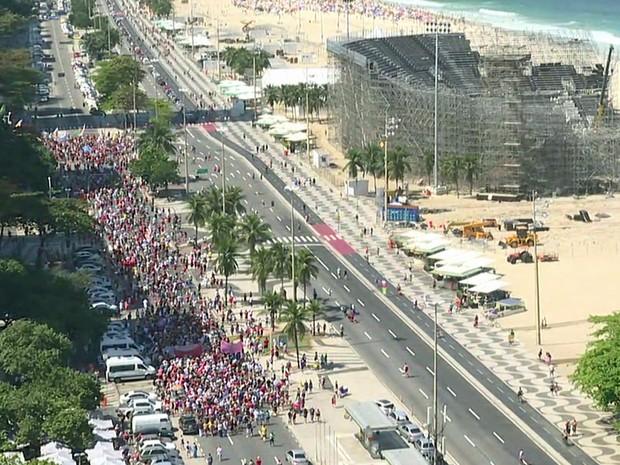 Protesto no Rio contra Temer neste domingo (4/9) (Foto: GloboNews)