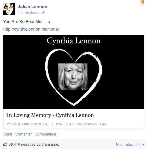 Post de Julian Lennon (Foto: Facebook/Reprodução)