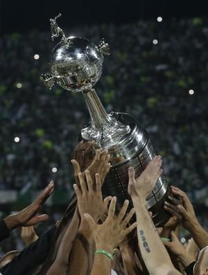 Troféu da Taça Libertadores erguido por várias mãos (Foto: AP/Dolores Ochoa)