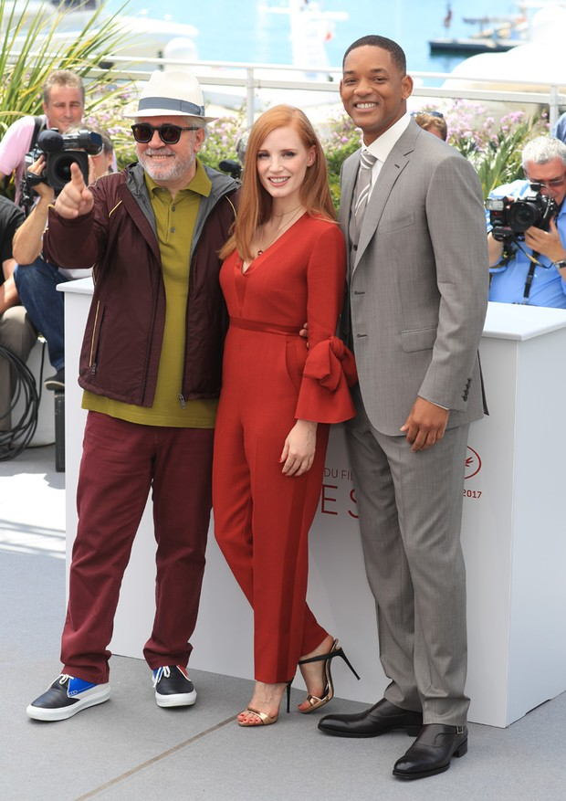 Pedro Almodóvar, Jessica Chastain e Will Smith (Foto: Antonio Barros)