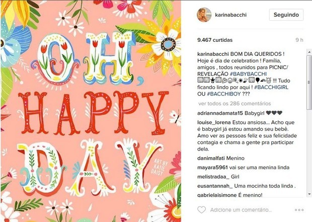 Post de Karina Bacchi no Instagram (Foto: Reprodução/Instagram)