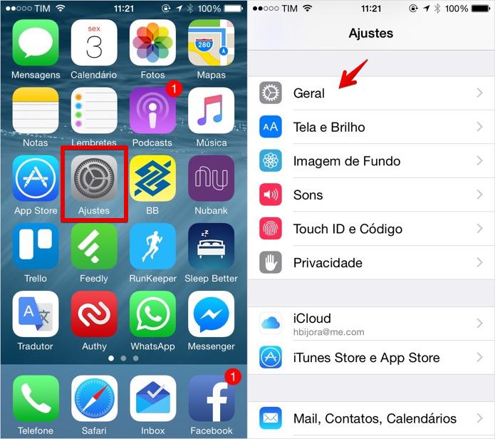 Acesse as configurações do iOS (Foto: Reprodução/Helito Bijora)