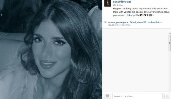 Fàbregas faz declaração apaixonada à namorada (Foto: Reprodução)
