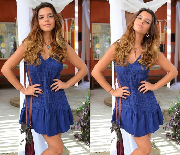 O vestido curto azul foi a escolha de Luana (Foto: Pedro Carrilho/Gshow)
