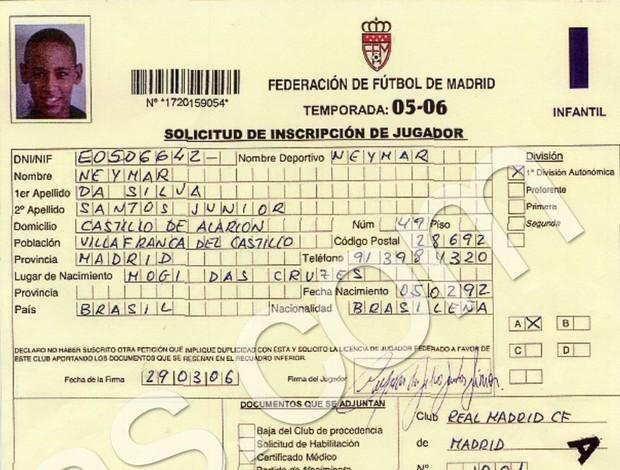 Documento que mostra acerto de Neymar com o Real (Foto: Reprodução / AS)