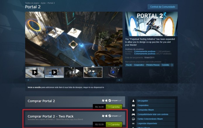 Steam: perceba na imagem o preço individual de Portal 2 e o preço oferecido por duas licenças (Foto: Reprodução/Paulo Vasconcellos)