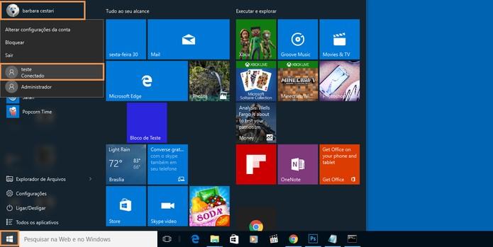 Acesse o perfil de usuário de teste no Windows 10 (Foto: Reprodução/Barbara Mannara)