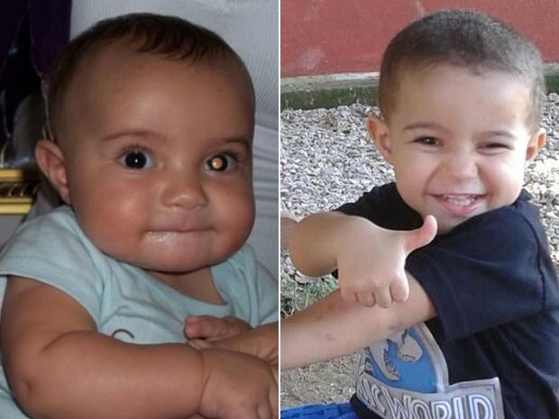 Foto da esquerda revelou mancha no olho que levou a diagnóstico de câncer no olho quando Arthur tinha 5 meses; hoje, com 2 anos, o garoto está em fase de controle da doença (Foto: Michele de Farias Brito/Arquivo Pessoal)