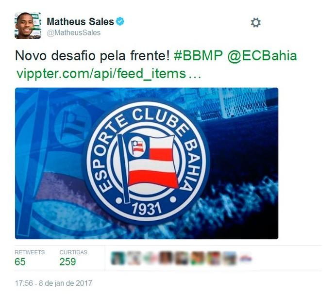 Matheus Sales; Bahia (Foto: Reprodução)