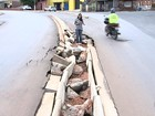 Chuva deixa ruas alagadas e destrói asfalto em bairros de Tatuí
