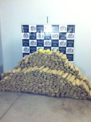 No total foram apreendidos 674 quilos de maconha  (Foto: Divulgação/ Polícia Civil)