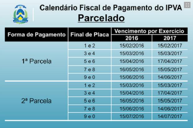 Calendário de pagamento parelado (Foto: Reprodução)