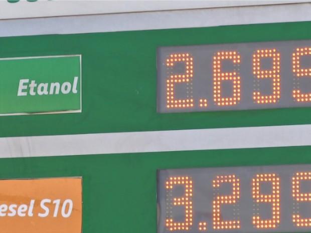 Etanol sobe para R$ 2,69 em alguns postos de Cuiabá (Foto: Reprodução/TVCA)