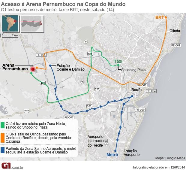 BRT é aprovado em novo teste de acesso à Arena Pernambuco, no primeiro jogo da Copa do Mundo (Foto: Arte / G1)