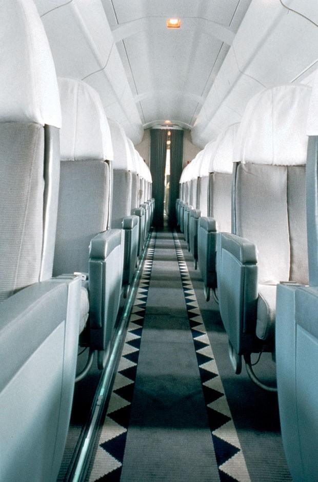 O interior do avião supersônico Concorde, projeto de Andrée de 1990 (Foto: Deidi Von Schaewen)