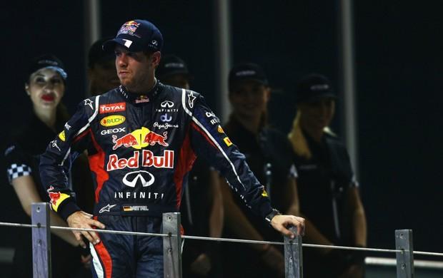 Sebastian Vettel tranquilão no pódio do GP de Abu Dhabi: 'Eu já esperava' (Foto: Getty Images)