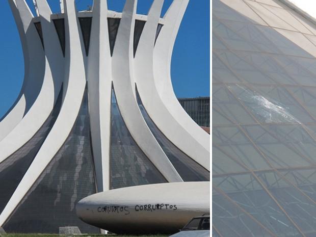 Estruturas da Catedral tiveram vidro quebrado e foi pichada durante manifestação do dia 20 de junho, em Brasília (Foto: TV Globo/Reprodução)