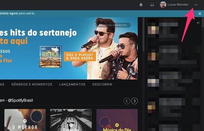 Acesse as configurações do Spotify (Foto: Reprodução/Lucas Mendes)