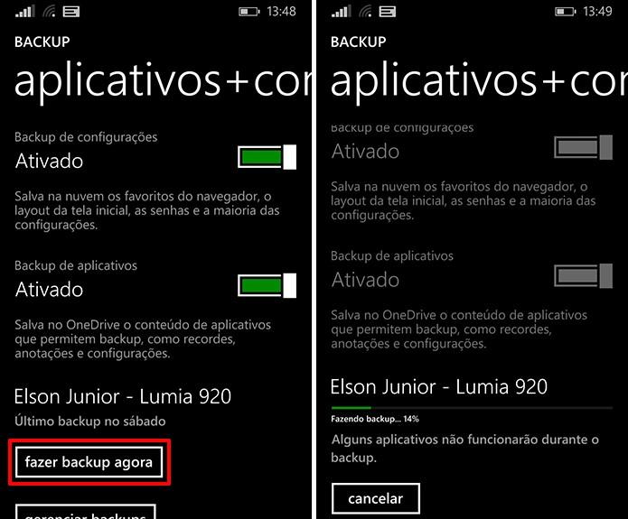 Windows Phone faz backup manual ou automático de aplicativos e jogos do sistema (Foto: Reprodução/Elson de Souza)
