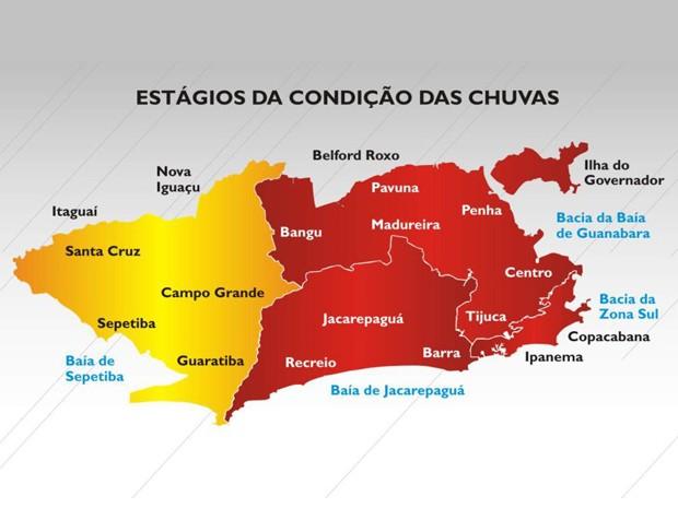 Centro de Operações mapeou as regiões da cidade por volta das 20h (Foto: Reprodução / Prefeitura do Rio)