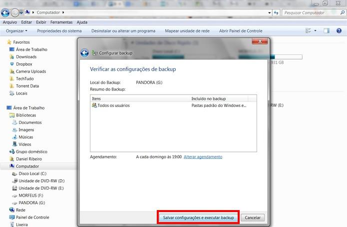 Clique no botão em destaque para confirmar suas configurações e iniciar a gravação do backup no HD externo (Foto: Reprodução/Daniel Ribeiro)