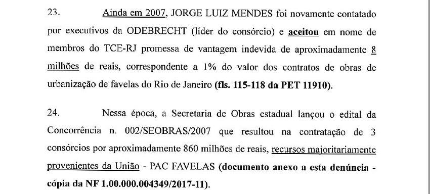 Trecho de denúncia da PGR sobre corrupção no TCE-RJ (Foto: Reprodução)