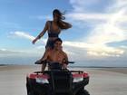 Nicole Bahls e Marcelo Bimbi ficam sem gasolina ao andar de quadriciclo
