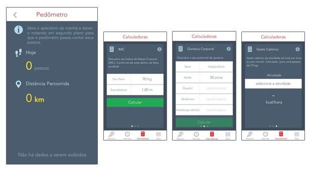 Tutorial aplicativo Medida Certa pedômetro e calculadoras (Foto: Rede Globo)