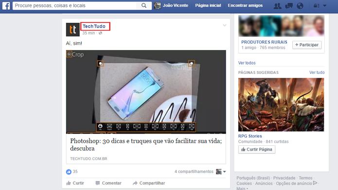 Usuários podem receber notificações de suas páginas favoritas (Foto: Reprodução/Facebook)