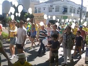 Manifestantes saíram da Praça dos Pioneiros e foram até a sede da Prefeitura de Paranavaí (Foto: Fabiano Oliveira/RPC)