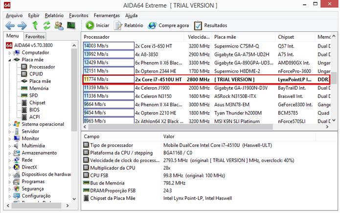 Programa mostra lista de resultados para vários computadores e permite comparação (Foto: Reprodução/AIDA64)