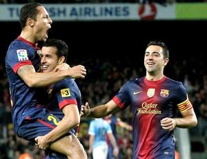 Adriano comemora gol do Barcelona contra o Celta (Foto: Reuters)