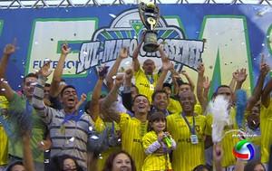 Cene comemora o título do Campeonato Sul-mato-grossense  (Foto: Reprodução/TV Morena)
