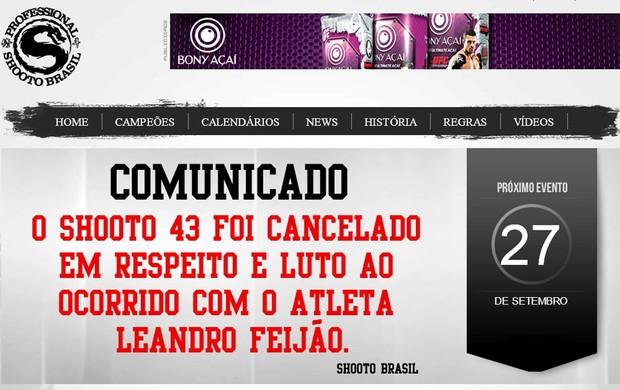 Shooto cancelado lutador morto (Foto: Reprodução / Site Oficial)