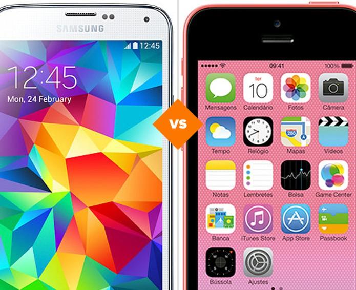 Confira o comparativo entre os celulares antigos Galaxy S5 e iPhone 5C (Foto: Arte/TechTudo)